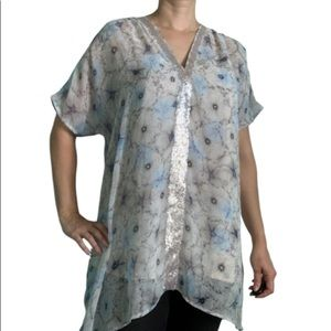 One September Lyla floral sheer tunic with sequins